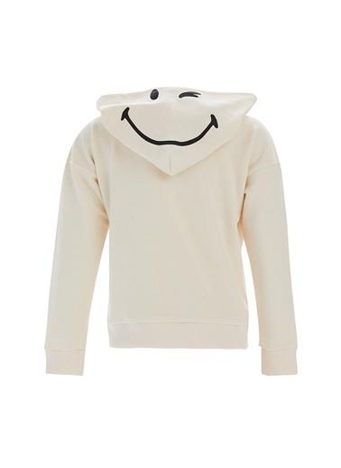 DeFacto Kız Çocuk Smiley Lisanslı Crop  Sweatshirt Ekru